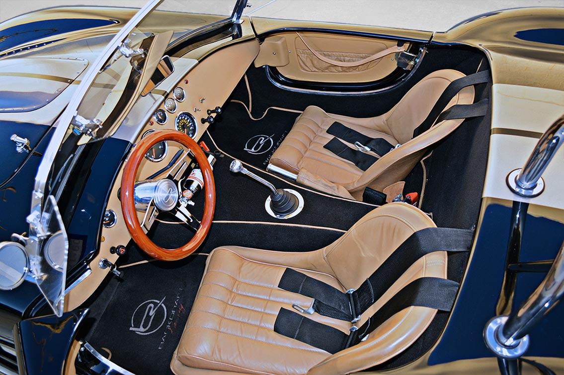 cockpit shot of Onyx Black Backdraft Racing 427SC Shelby classic Cobra replica for sale, BDR752
