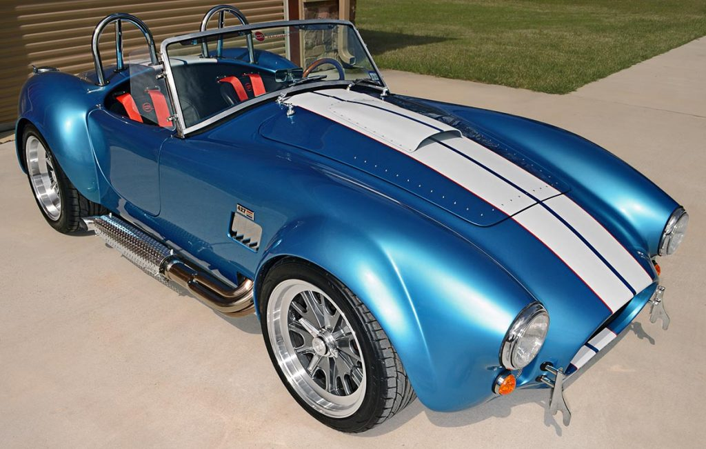 3/4-frontal shot (passenger side) of Electric Blue Backdraft Racing replica of Shelby classsic 427SC Cobra for sale, BDR1755