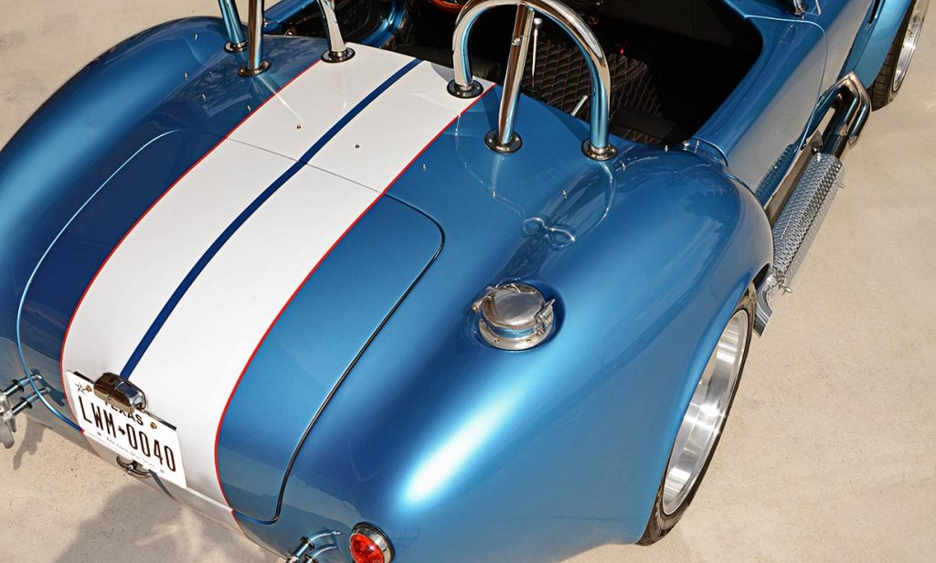 elevated rear quarter shot (passenger side) of Electric Blue Backdraft Racing replica of Shelby classsic 427SC Cobra for sale, BDR1755