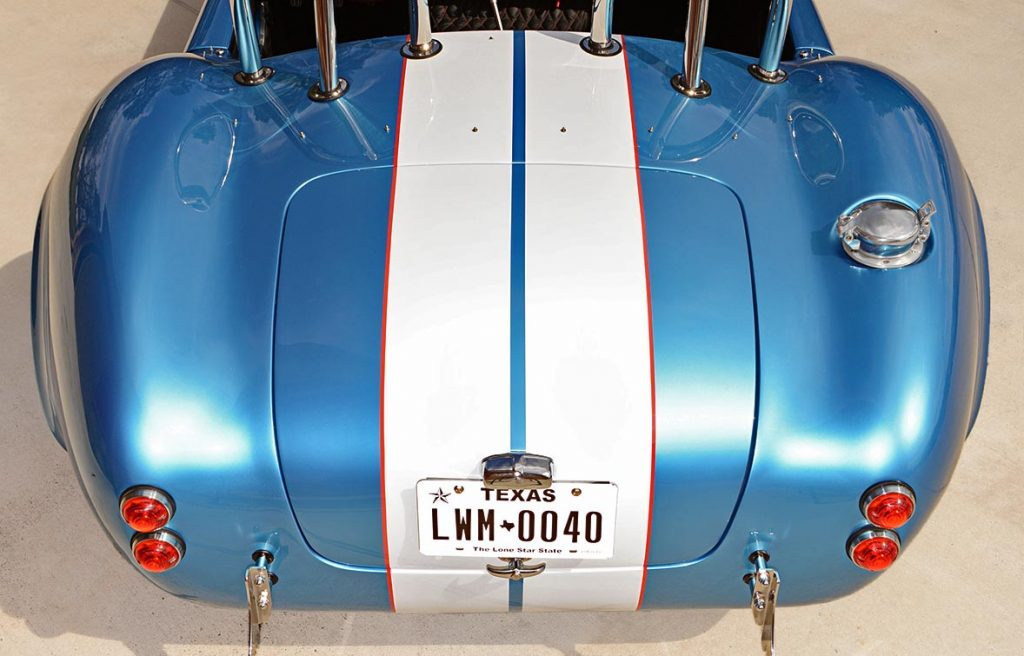 head-on rear shot of Electric Blue Backdraft Racing replica of Shelby classsic 427SC Cobra for sale, BDR1755