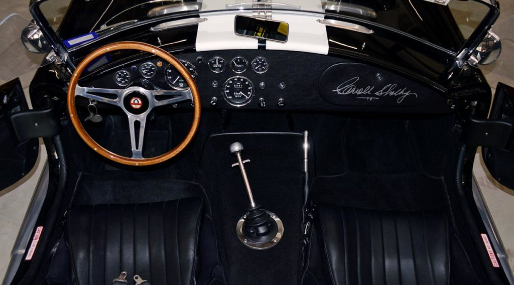 cockpit and dashboard of Onyx Black Superformance MkIII Cobra for sale, SPO2358