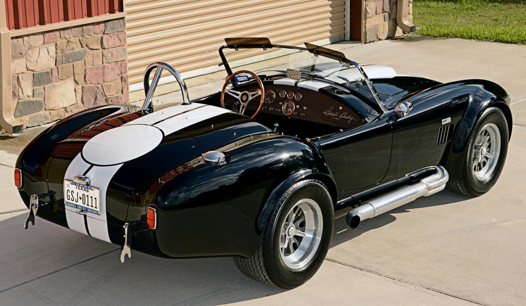 3/4-rear (passenger side) shot of Onyx Black Superformance MkIII Cobra for sale, SPO2358