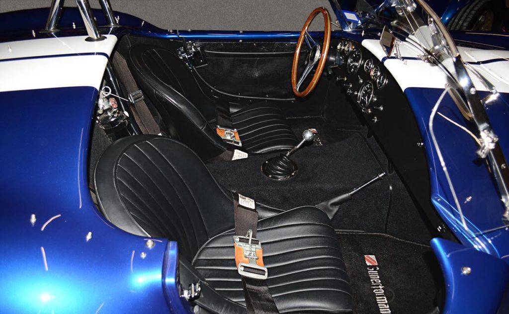 cockpit shot of Navy Blue Superformance 427SC Cobra for sale, SPO1584