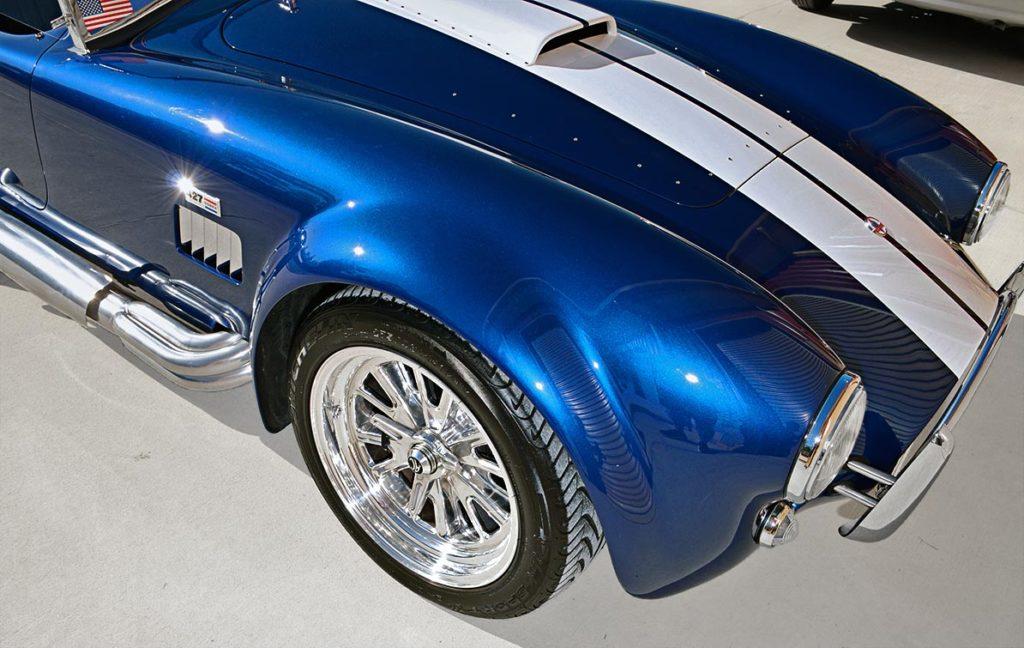 front-quarter shot (passenger side) of Navy Blue Superformance 427SC Cobra for sale, SPO1584