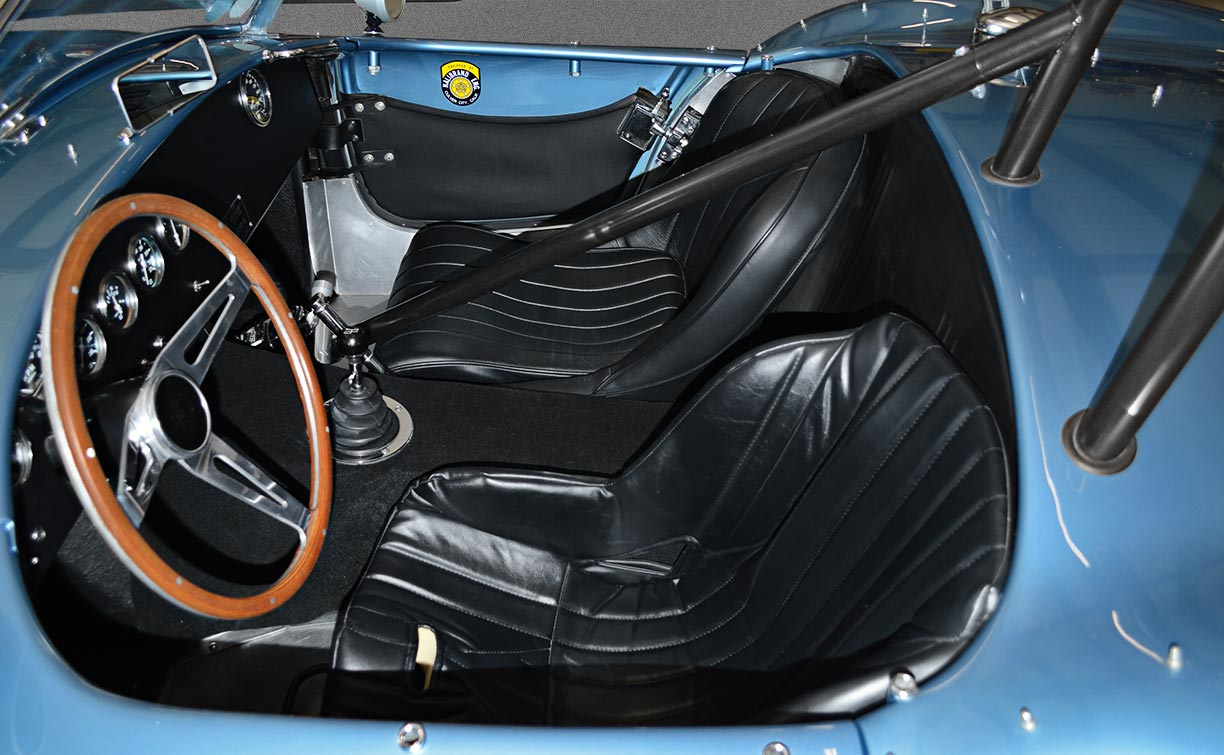 cockpit shot#1 (from driver side) of Viking Blue Superformance 289FIA Shelby classic Cobra replica for sale, SPO#0002