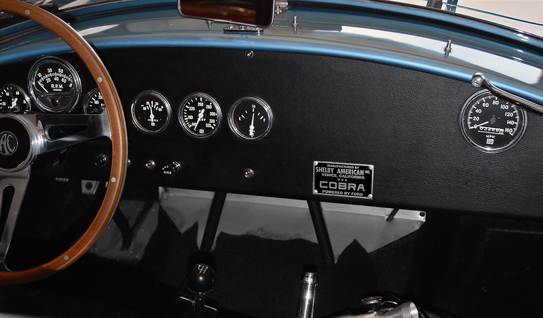 dashboard shot of Viking Blue Superformance 289FIA Shelby classic Cobra replica for sale, SPO#0002