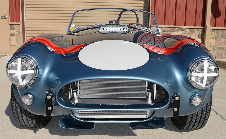 head-on frontal shot of Viking Blue sdSuperformance 289FIA Shelby classic Cobra replica for sale, SPO#0002