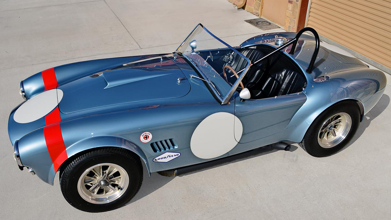aerial broadside shot (from passenger side) of Viking Blue Superformance 289FIA Shelby classic Cobra replica for sale, SPO#0002