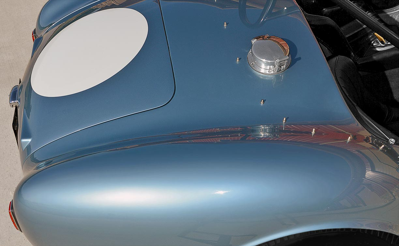 closeup shot of rear rear cowling on Viking Blue Superformance 289FIA Shelby classic Cobra replica for sale, SPO#0002
