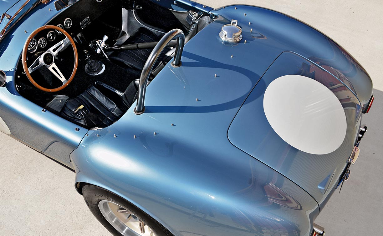 aerial rear quarter shot of Viking Blue Superformance 289FIA Shelby classic Cobra replica for sale, SPO#0002