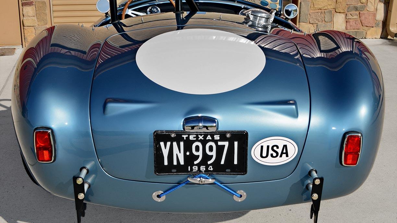head-on rear shot of Viking Blue Superformance 289FIA Shelby classic Cobra replica for sale, SPO#0002