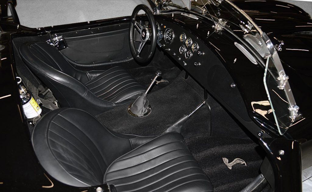 cockpit shot of Onyx Black Superformance 427 Shelby classic Cobra street version Roadster for sale, SPO1869