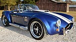 3/4-frontal thumbnail image of deep Royal Blue/Arctic White LeMans stripes Superformance 427SC Shelby classic Cobra replica for sale, SP02499