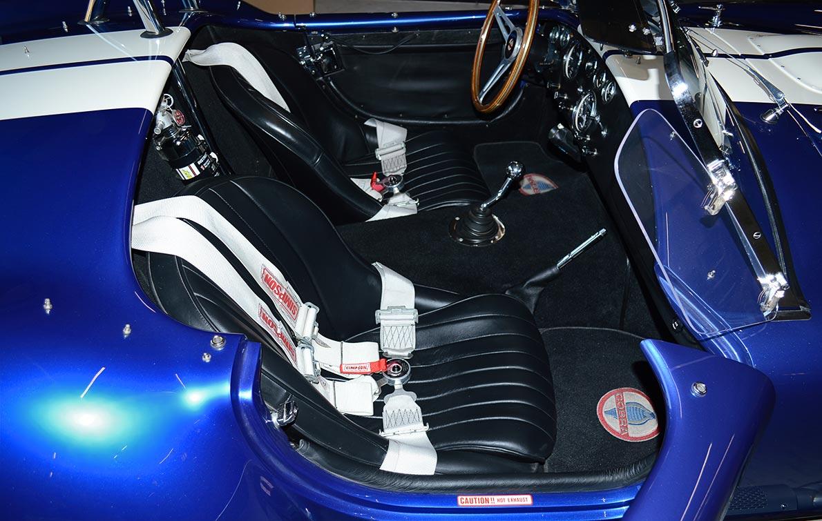 cockpit shot of deep Royal Blue/Arctic White LeMans stripes Superformance 427SC Shelby classic Cobra replica for sale, SP02499