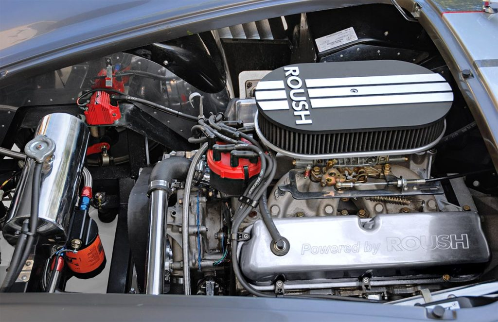 engine shot Roush small-block V8 in this Backdraft Racing 427SC Shelby classic Cobra for sale, BDR#712
