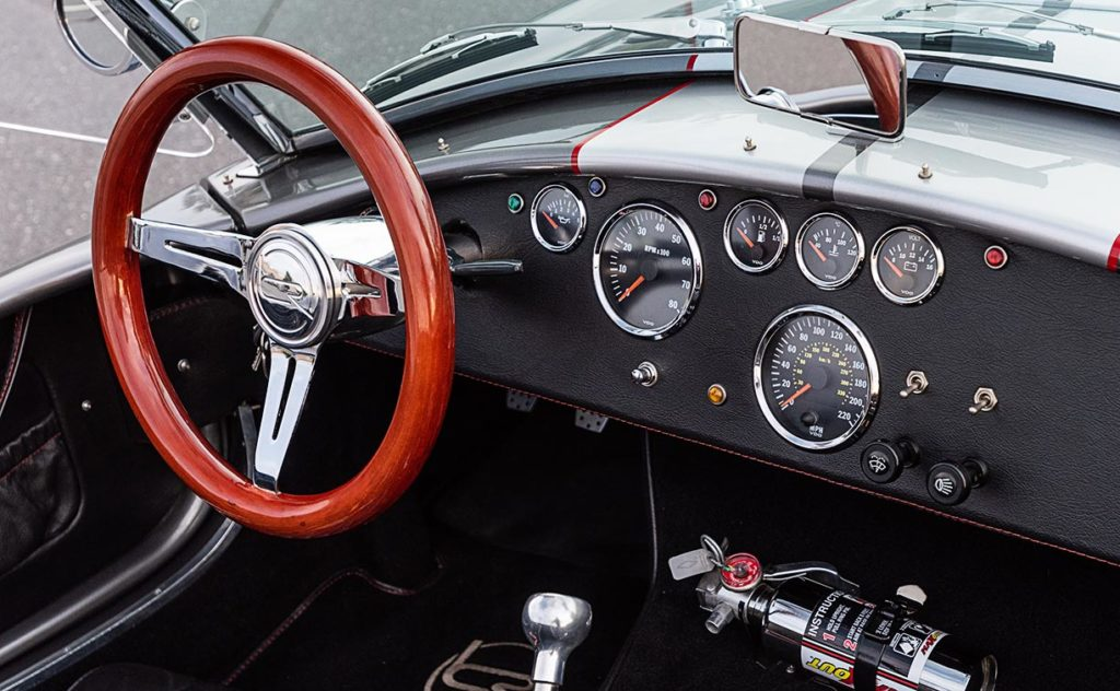 dashboard shot (from RHS of cockpit) of this Backdraft Racing 427SC Shelby classic Cobra for sale, BDR#712