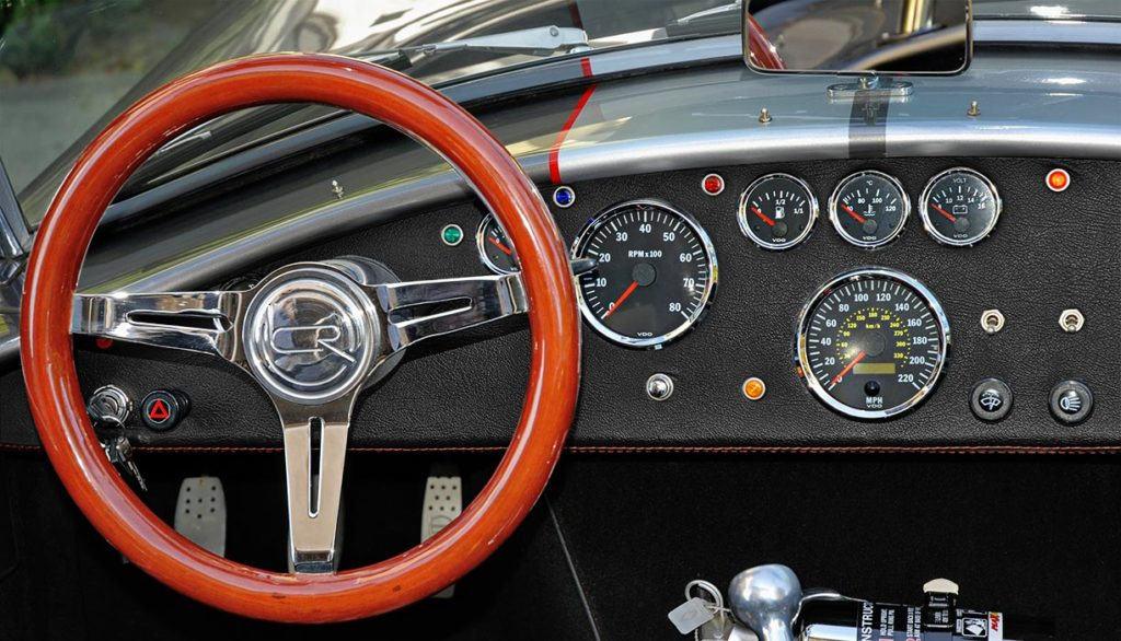 dashboard shot (from head-on) of this Backdraft Racing 427SC Shelby classic Cobra for sale, BDR#712