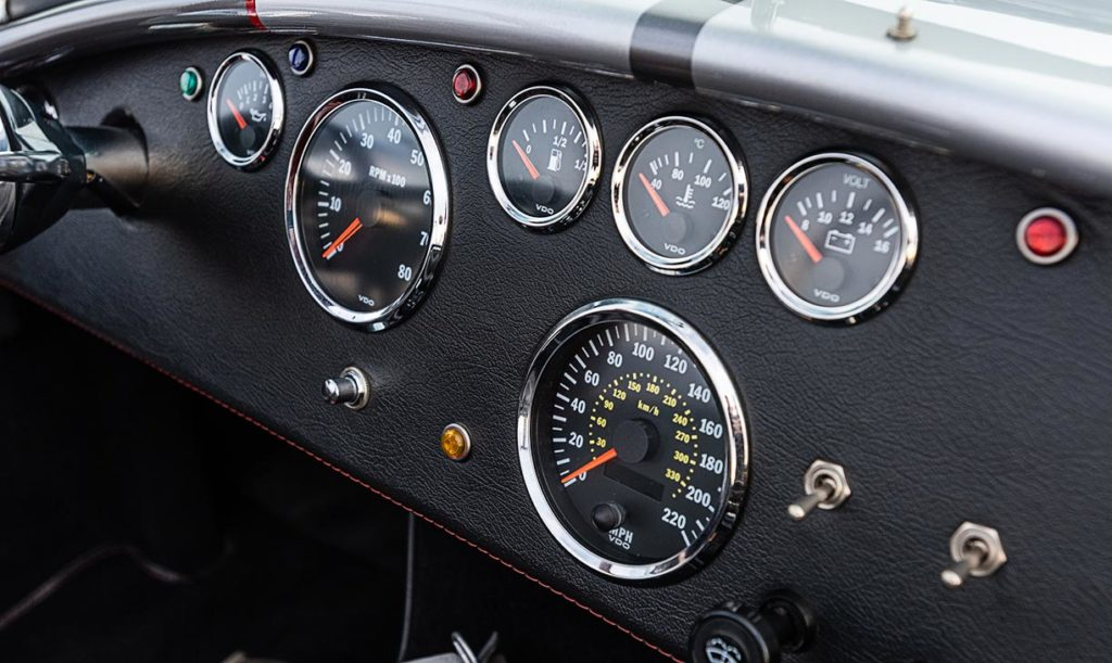 gauge ensemble shot of this Backdraft Racing 427SC Shelby classic Cobra for sale, BDR#712