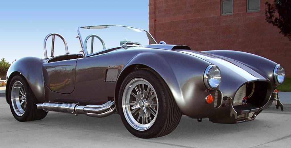 3/4-frontal shot (passenger side) of this Backdraft Racing 427SC Shelby classic Cobra for sale, BDR#712