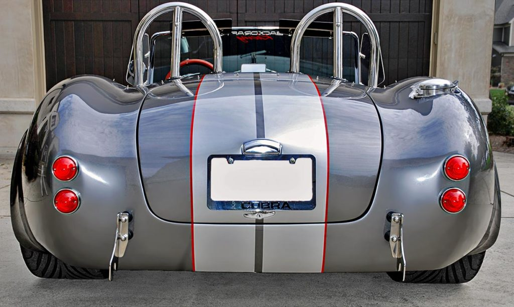 head-on rear shot of this Backdraft Racing 427SC Shelby classic Cobra for sale, BDR#712