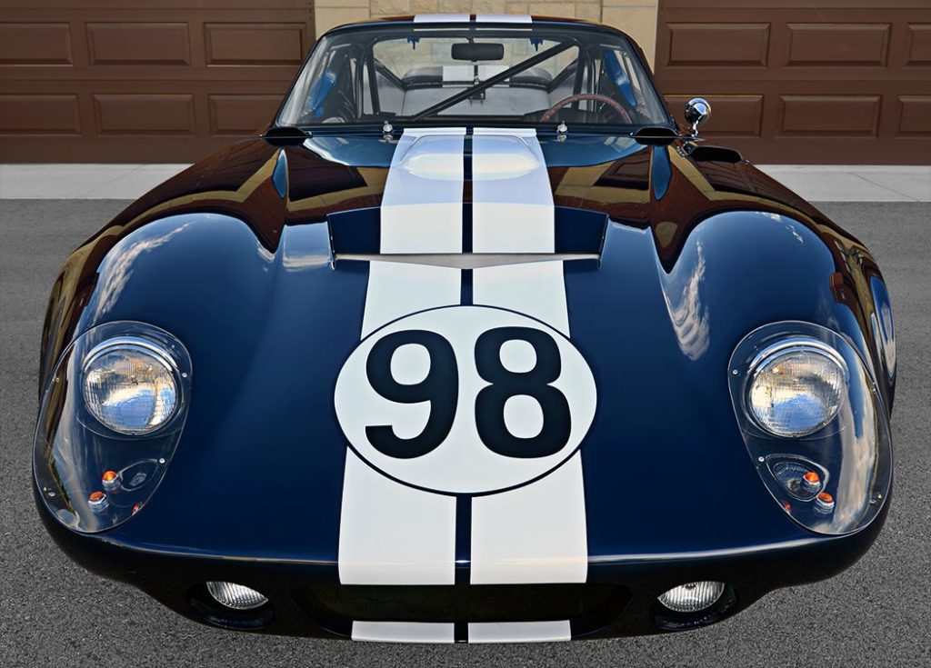 head-on frontal shot of Indigo Blue Factory Five Racing Type 65 Daytona Coupe for sale by owner