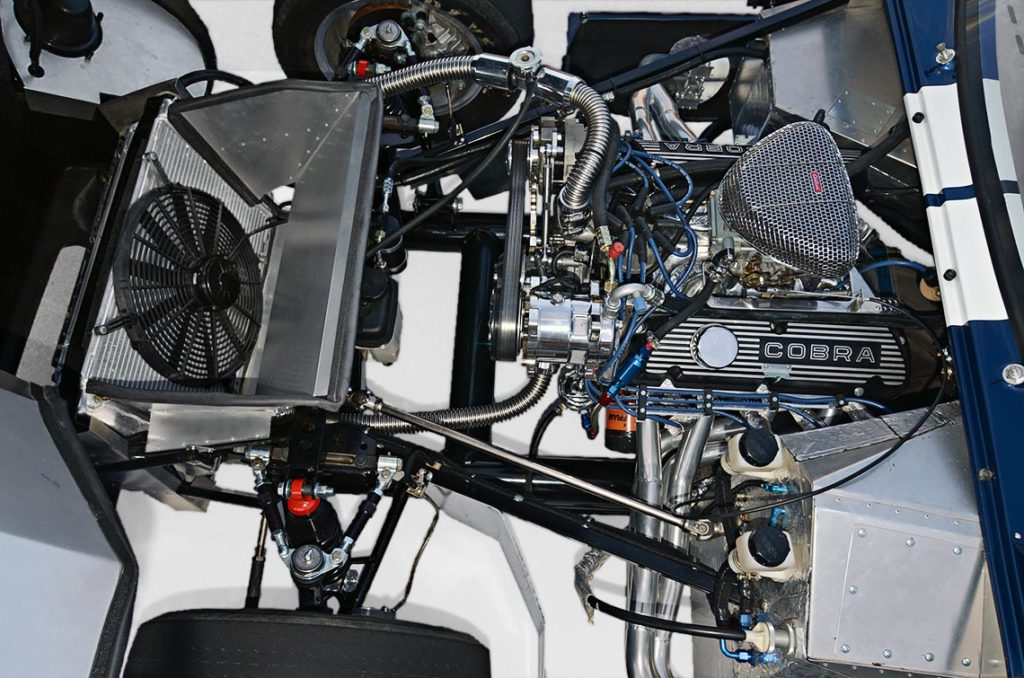 engine shot#1 (from driver side) of Indigo Blue Factory Five Racing Type 65 Daytona Coupe for sale by owner