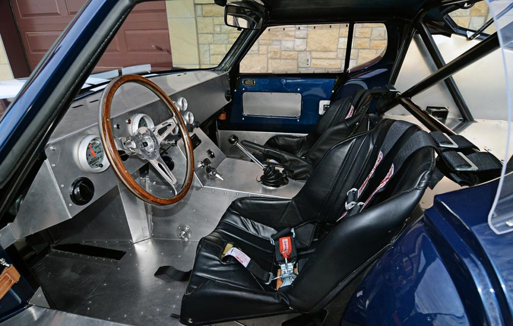 cockpit shot of Indigo Blue Factory Five Racing Type 65 Daytona Coupe for sale by owner