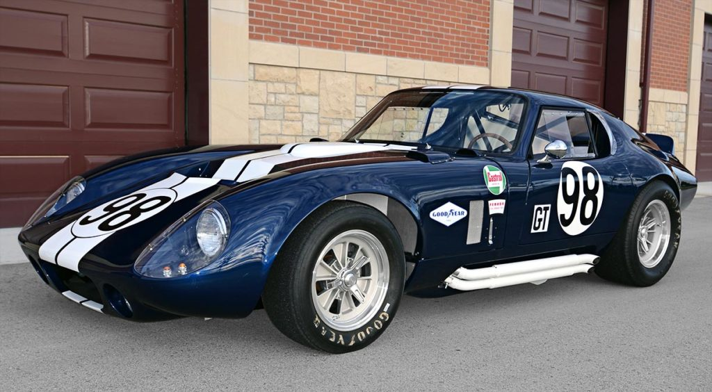 3/4-frontal shot (driver side) of Indigo Blue Factory Five Racing Type 65 Daytona Coupe for sale by owner