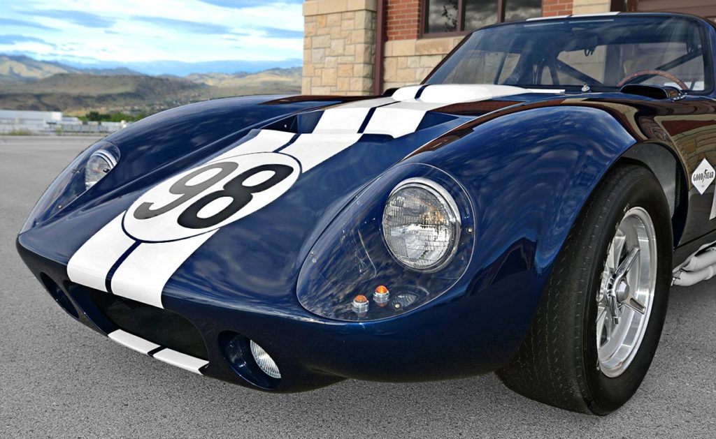 front-quarter shot (driver side) of Indigo Blue Factory Five Racing Type 65 Daytona Coupe for sale by owner