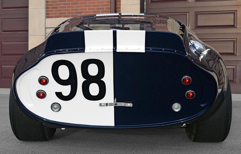 rear-on rear shot of Indigo Blue Factory Five Racing Type 65 Daytona Coupe for sale by owner