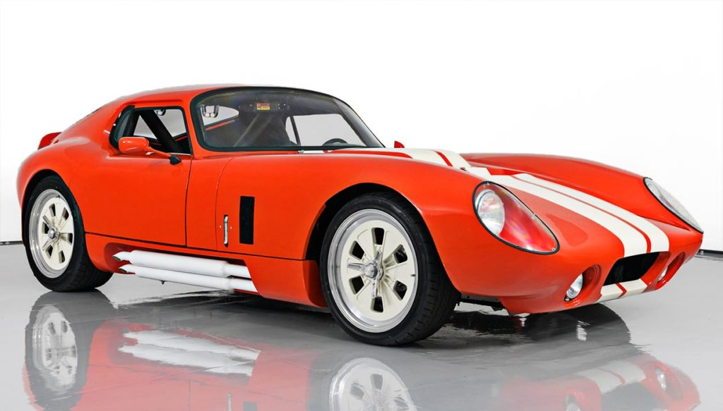 3/4-frontal shot (passenger side) of this Poppy Red Shelby Daytona Coupe replica by JBL Motorsports, for sale by owner.