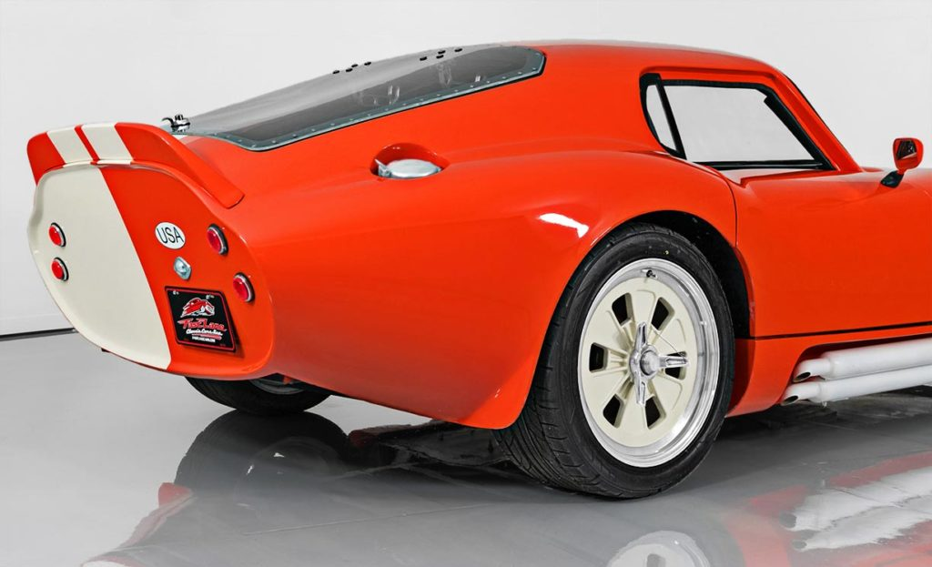 rear-quarterview shot (passenger side) of this Poppy Red Shelby Daytona Coupe replica by JBL Motorsports, for sale by owner.