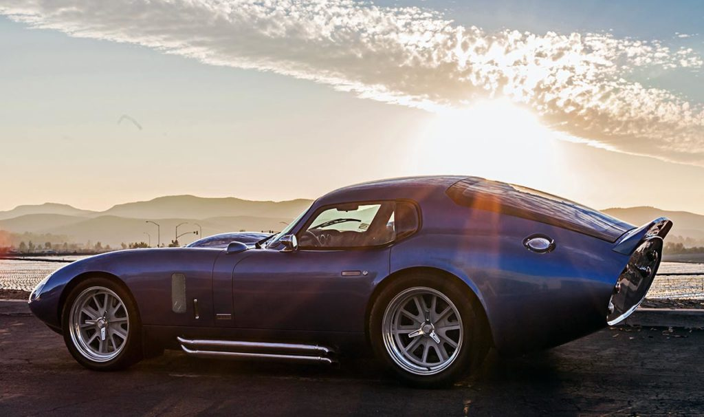 California sunset shot of Guardsman Blue Shelby Cobra Daytona Coupe for sale, SPC9011