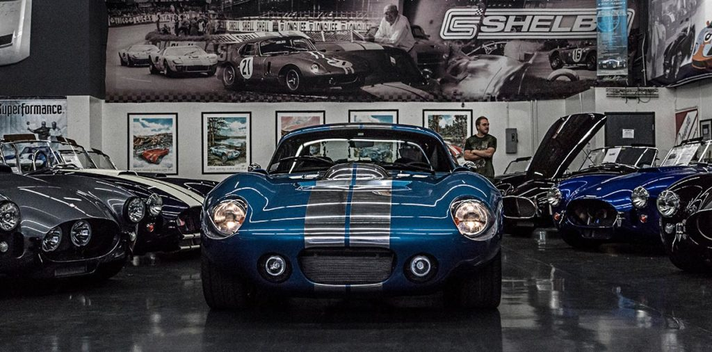frontal shot of Guardsman Blue Shelby Cobra Daytona Coupe Nr. SPC9011 on display in Superformance's showroom