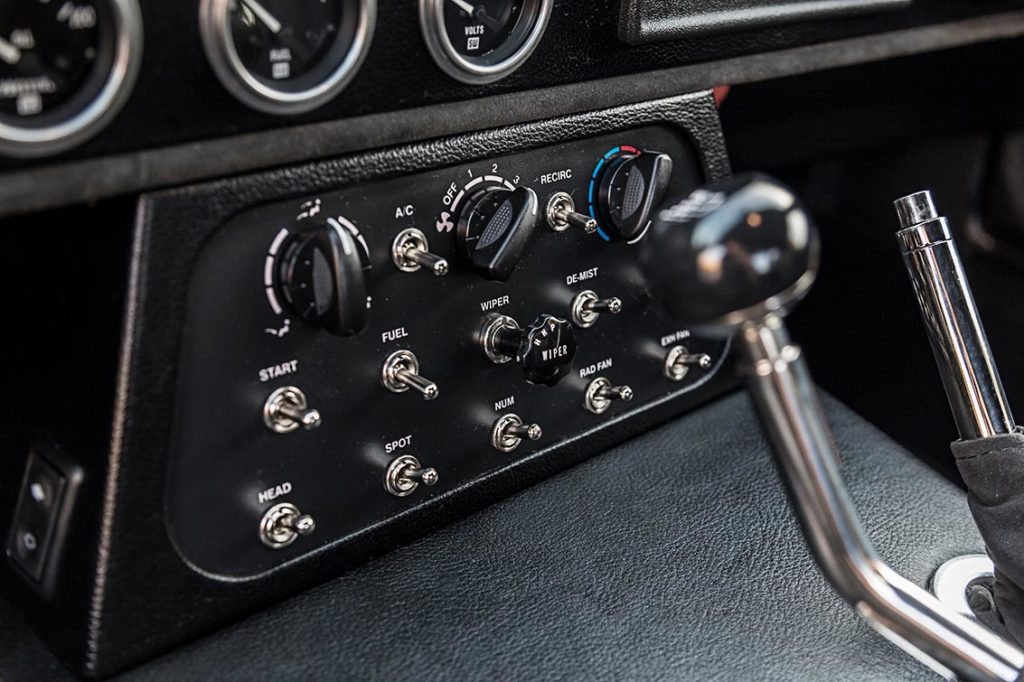 switch console shot of Guardsman Blue Shelby Cobra Daytona Coupe for sale, SPC9011