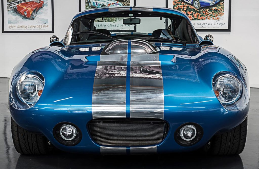 head-on frontal shot of Guardsman Blue Shelby Cobra Daytona Coupe for sale on this page, SPC9011