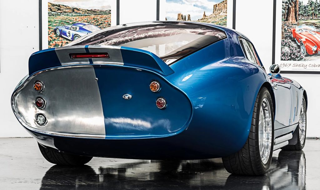 3/4-rear shot#2 (passenger side) of Guardsman Blue Shelby Cobra Daytona Coupe for sale on this page, SPC9011