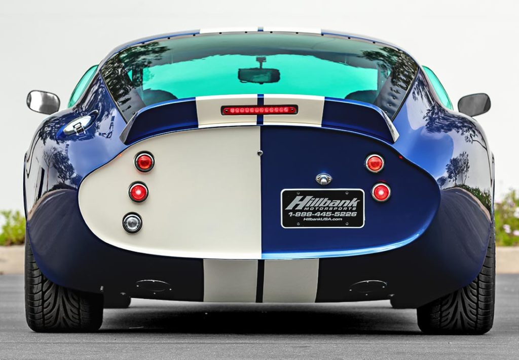 dead-on rear shot of Guardsman Blue Superformance classic Shelby Daytona Cobra Coupe for sale, SPC0006 (Hillbank showroom)