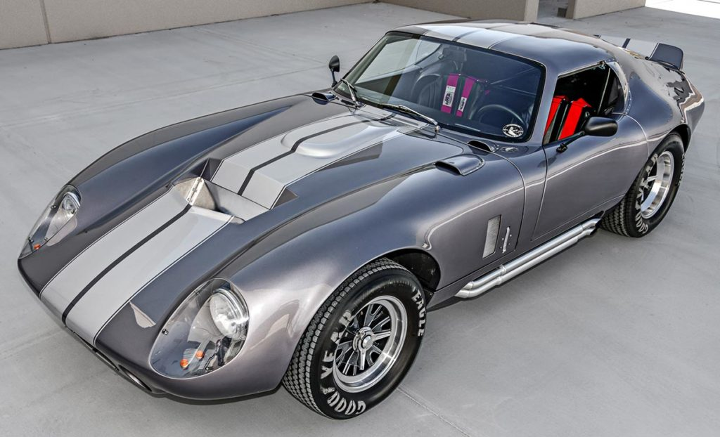 3/4-frontal photo (driver side) of Tungsten Gray Type 65 Series II Daytona Coupe by Factory Five Racing, for sale by owner