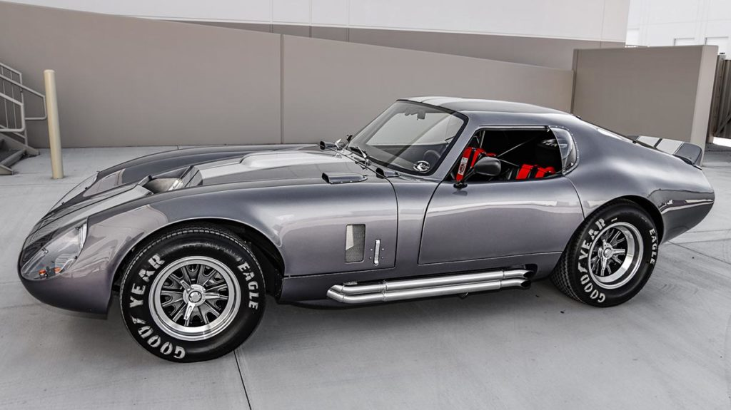 broadside shot of Tungsten Gray Type 65 Series II Daytona Coupe by Factory Five Racing, for sale by owner