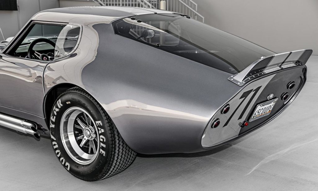 rear-quarter view (driver side) of Tungsten Gray Type 65 Series II Daytona Coupe by Factory Five Racing, for sale by owner