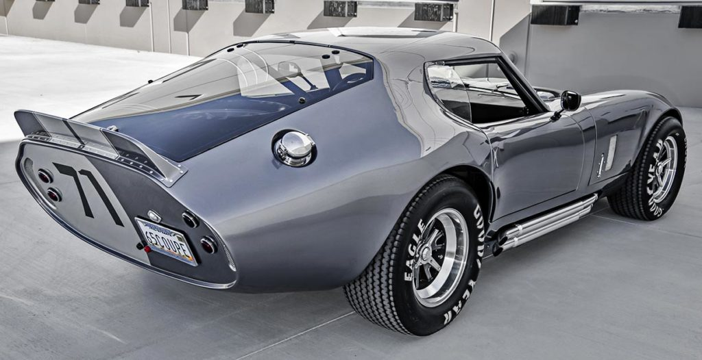 rear-quarter view (passenger side) of Tungsten Gray Type 65 Series II Daytona Coupe by Factory Five Racing, for sale by owner
