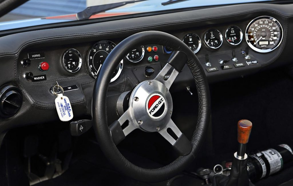 instrument panel shot of Gulf Blue CAV (Cape Advanced Vehicles) Ford GT40 Mk1 for sale