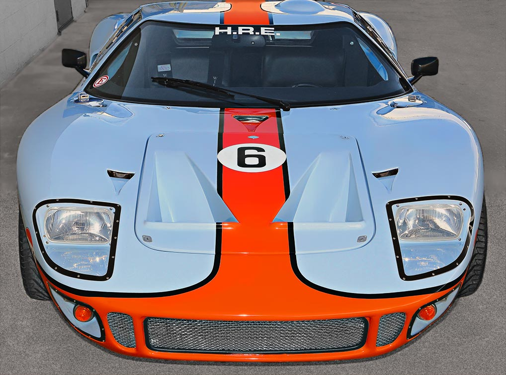 head-on frontal shot of Gulf Blue CAV (Cape Advanced Vehicles) Ford GT40 Mk1 for sale