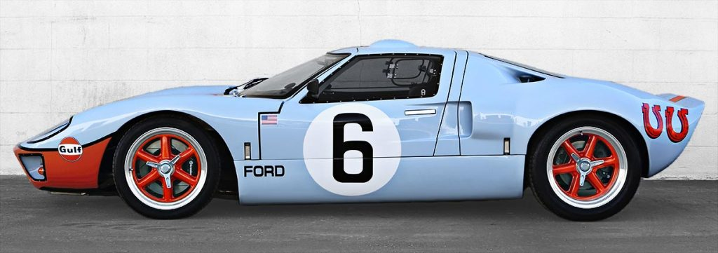 broadside shot (driver side) of Gulf Blue CAV (Cape Advanced Vehicles) Ford GT40 Mk1 fo
