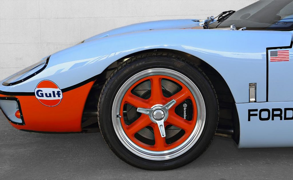 front-quarter and rolling stock shot (driver side) of Gulf Blue CAV (Cape Advanced Vehicles) Ford GT40 Mk1 for sale