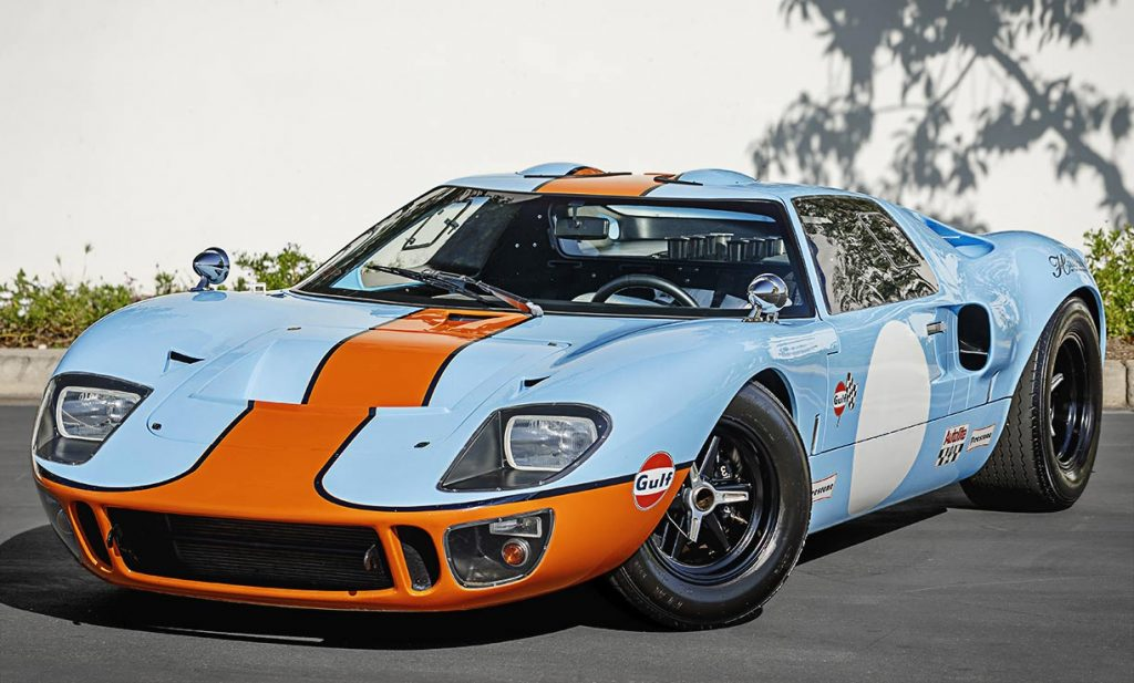 3/4-frontal frontal images of Gulf Blue Superformance Ford GT40 Mk1 for sale, P2141