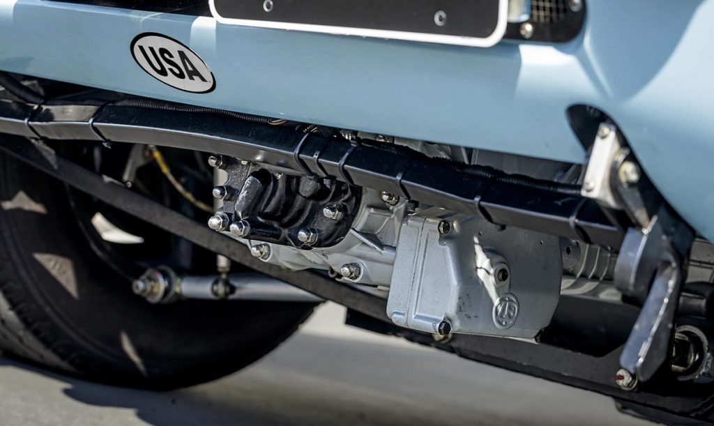 undercarriage shot of rugged 5-speed ZF transaxle in Gulf Blue Superformance Ford GT40 Mk1 for sale, P2141