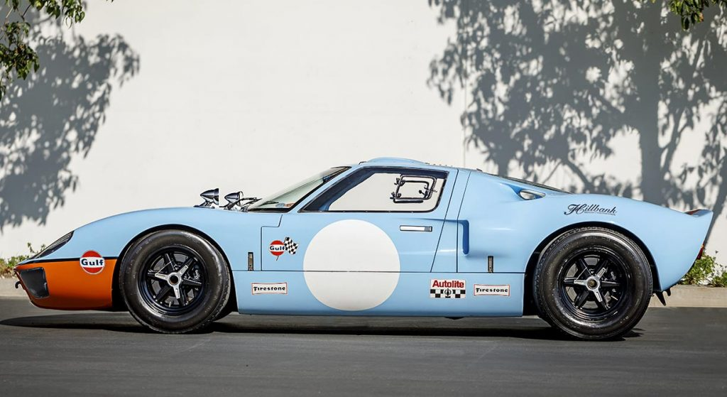 Driver-side broadside shot of Gulf Blue Superformance Ford GT40 Mk1 for sale, P2141
