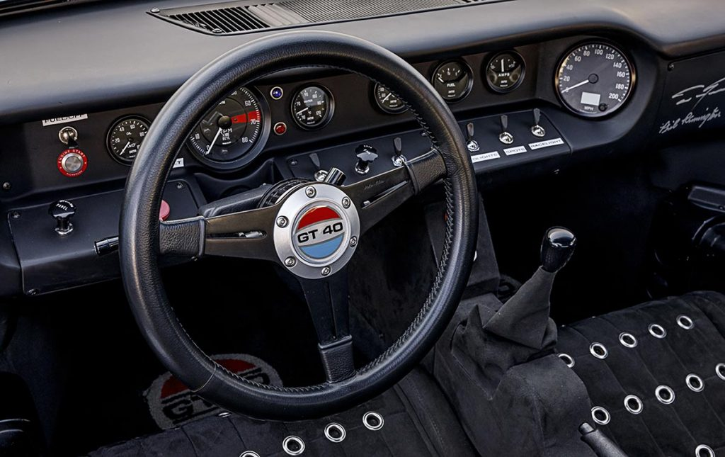 Driver-view instrument panel shot of Gulf Blue Superformance Ford GT40 Mk1 for sale, P2141